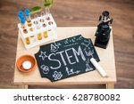 stem education. chalk on a... | Shutterstock . vector #628780082