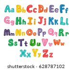 cartoon alphabet. illustrated... | Shutterstock .eps vector #628787102