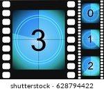old film movie countdown frame. ... | Shutterstock .eps vector #628794422