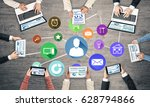 group of people with devices in ... | Shutterstock . vector #628794866