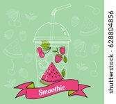 fruit smoothie  bubble tea or... | Shutterstock .eps vector #628804856