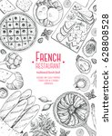 french cuisine top view ... | Shutterstock .eps vector #628808528