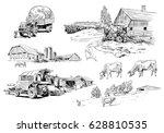 farm sketch vector illustration.... | Shutterstock .eps vector #628810535
