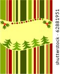 Striped Christmas card background - stock vector