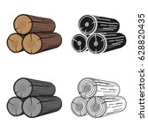 stack of logs icon in cartoon... | Shutterstock .eps vector #628820435