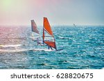 windsurfer surfing the wind on... | Shutterstock . vector #628820675
