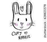 contour rabbit face drawing    Shutterstock .eps vector #628821578