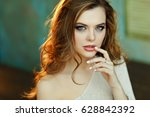 seductive sexy girl with curly... | Shutterstock . vector #628842392