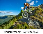 a man is riding bicycle  on the ... | Shutterstock . vector #628850462