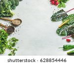 fresh raw greens  unprocessed... | Shutterstock . vector #628854446