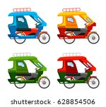 tuk tuk. motorized tricycle.... | Shutterstock .eps vector #628854506