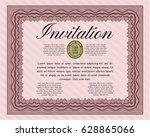 red vintage invitation template.... | Shutterstock .eps vector #628865066