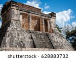 Small photo of Great Ballcourt in Chichen Itza, Yucatan Peninsula, Mexico. An ancient sport was played here where the players had to put a large rubber ball through the ring without the use of their hands.