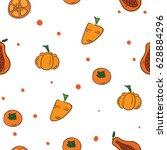 pattern fruit orange carrot... | Shutterstock .eps vector #628884296