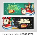 back to school sale die cut... | Shutterstock .eps vector #628895372