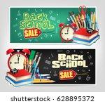 back to school sale die cut... | Shutterstock .eps vector #628895372
