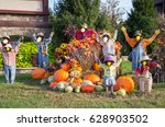 Autumn Scarecrows On Display