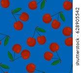 cartoon fresh cherry fruits in... | Shutterstock .eps vector #628905542