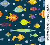 cute fish vector illustration... | Shutterstock .eps vector #628905656