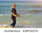 young surfer girl with... | Shutterstock . vector #628910276