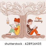 cute boy and girl reading books ... | Shutterstock .eps vector #628916435