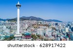 busan city with busan tower ... | Shutterstock . vector #628917422