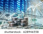 stack of coins and american... | Shutterstock . vector #628946558