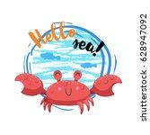 hello sea cartoon badge with... | Shutterstock .eps vector #628947092