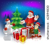 christmas greeting santa with... | Shutterstock .eps vector #62894830