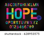 vector of modern colorful font... | Shutterstock .eps vector #628953575