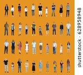diversity people set gesture... | Shutterstock . vector #628958948