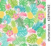 flamingo  hibiscus  pineapple... | Shutterstock .eps vector #628969682