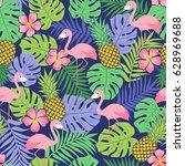 flamingo  hibiscus  pineapple... | Shutterstock .eps vector #628969688