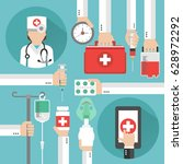 medical online design flat with ... | Shutterstock .eps vector #628972292