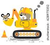 bear driving heavy tools with... | Shutterstock .eps vector #628975352