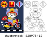 coloring book or page with bear ... | Shutterstock .eps vector #628975412