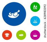 set of 6 cafe icons set... | Shutterstock .eps vector #628983392
