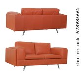 orange sofa front and back in... | Shutterstock . vector #628986665