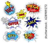 pop art speech bubble  dynamic... | Shutterstock .eps vector #628989272