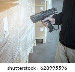 man worker scanning shipments... | Shutterstock . vector #628995596