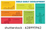 baby development stages... | Shutterstock .eps vector #628995962