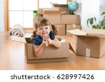 moving to new apartment. happy... | Shutterstock . vector #628997426
