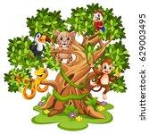 Stock vector vector illustration of wild animals cartoon on the trees 629003495