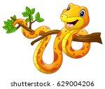 cartoon snake on branch | Shutterstock . vector #629004206