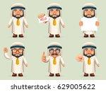 finger pointing up businessman... | Shutterstock .eps vector #629005622