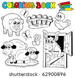 coloring book with farm animals ... | Shutterstock .eps vector #62900896