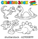 coloring book with dinosaurs 1  ... | Shutterstock .eps vector #62900899