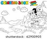 coloring book with cute animals ... | Shutterstock .eps vector #62900905