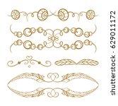 set of elegant boho style... | Shutterstock .eps vector #629011172