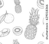 fruits seamless pattern.... | Shutterstock .eps vector #629018366